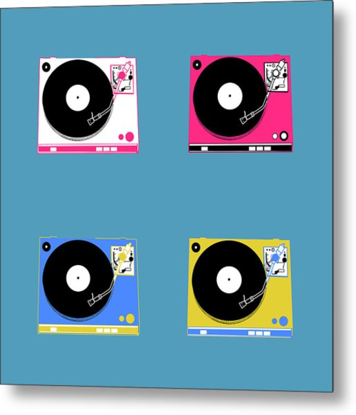 Turntable Pop Art 2 Metal Print