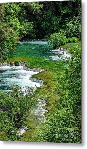 Turqouise Waterfalls Of Skradinski Buk At Krka National Park In Croatia Metal Print