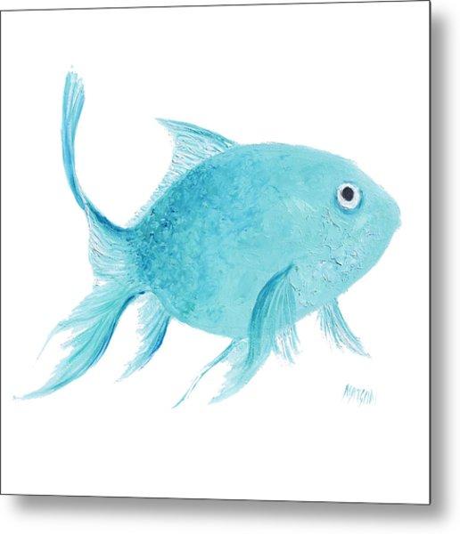 Turquois Fish On White Metal Print