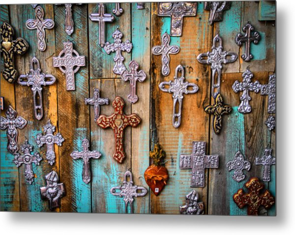 Turquoise And Crosses Metal Print