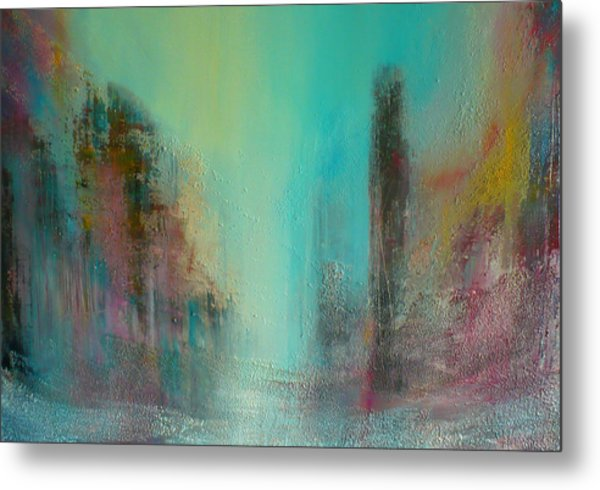 Turquoise Evening Metal Print by Denise Cloutier