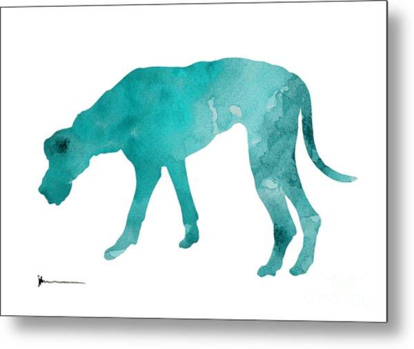 Turquoise Great Dane Watercolor Art Print Paitning Metal Print