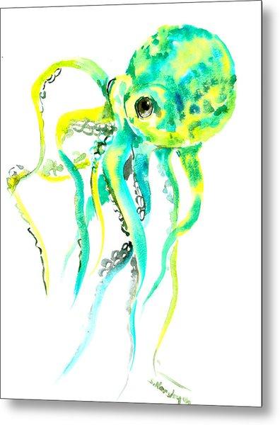 Turquoise Green Octopus Metal Print