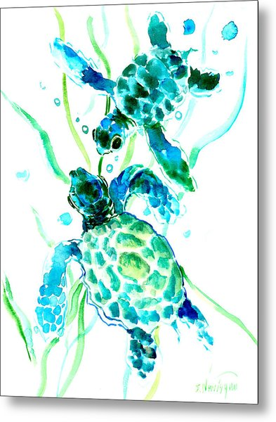 Turquoise Indigo Sea Turtles Metal Print