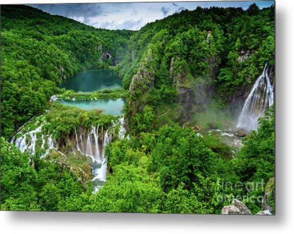 Turquoise Lakes And Waterfalls - A Dramatic View, Plitivice Lakes National Park Croatia Metal Print