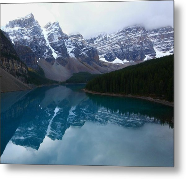 Turquoise Reflection At Moraine Lake Metal Print