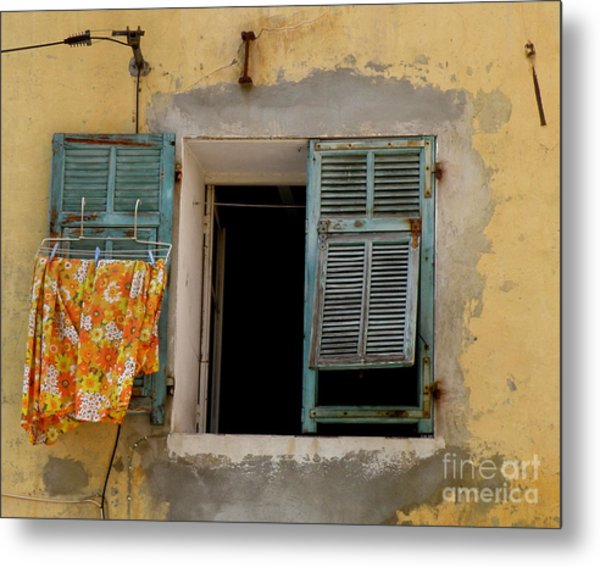 Turquoise Shuttered Window Metal Print