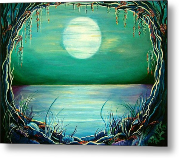 Metal Print featuring the painting Turquoise Taunt by Doe-Lyn Designs