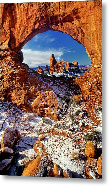 Metal Print featuring the photograph Turret Arch Through North Window Arches National Park Utah by Dave Welling