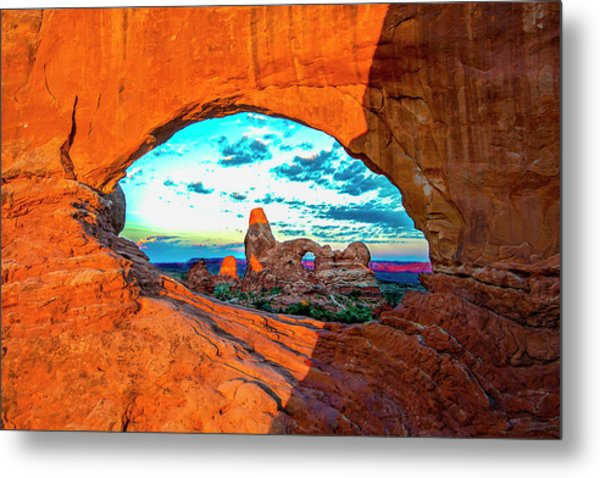 Metal Print featuring the photograph Turret Arch Through Window by Norman Hall
