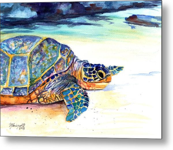 Turtle At Poipu Beach 2 Metal Print