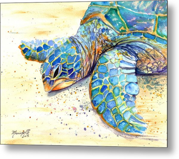 Turtle At Poipu Beach 4 Metal Print