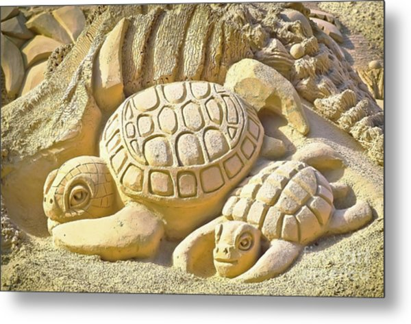 Turtle Sand Castle Sculpture On The Beach 999 Metal Print
