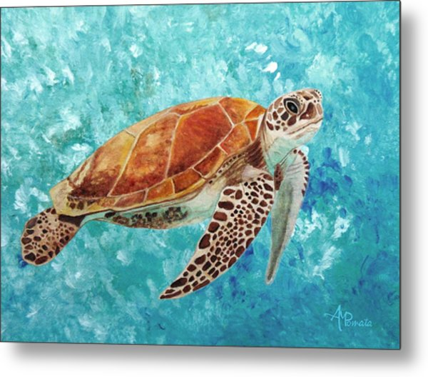 Turtle Swimming Metal Print