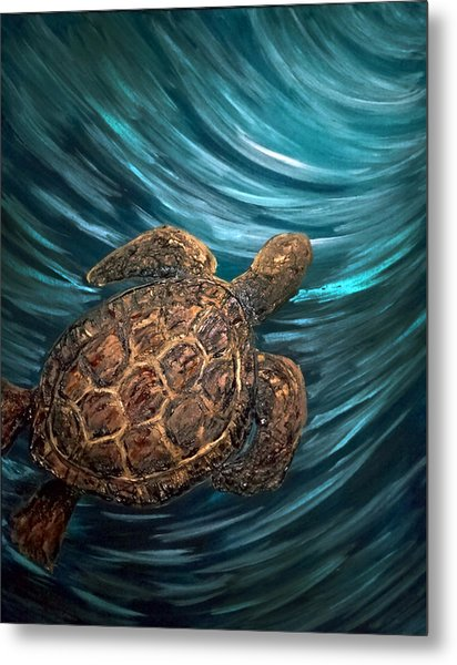 Turtle Wave Deep Blue Metal Print