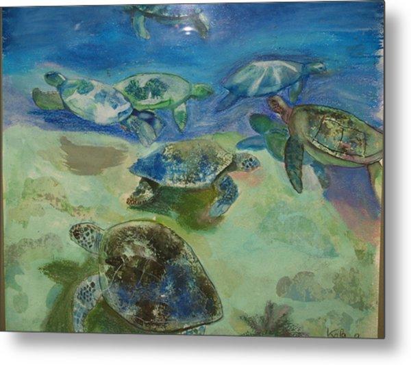 Turtles Metal Print by Aline Kala
