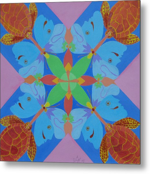 Turtles And Butterfly People Metal Print by Seema  Gill