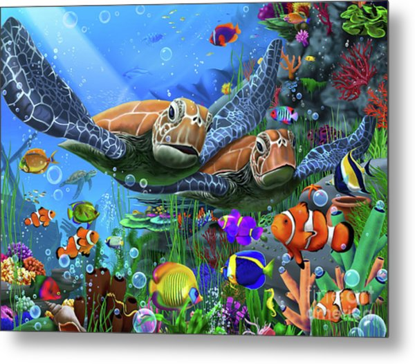 Turtles Of The Deep Metal Print