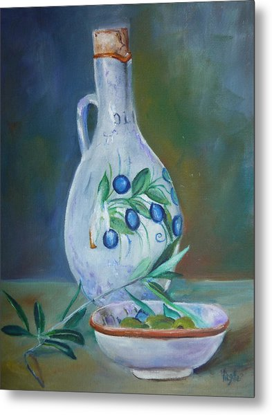 Tuscan Elements - Olive Oil With Olives Metal Print by Virgilla Lammons