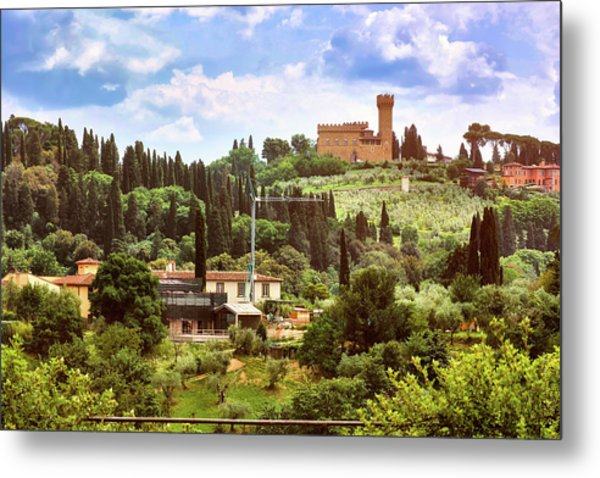 Tuscan Fields And Old Castle In Florence Metal Print
