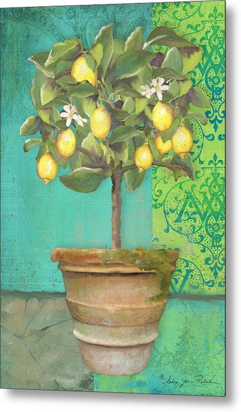 Tuscan Lemon Topiary - Damask Pattern 1 Metal Print