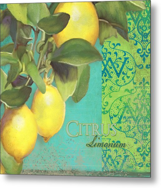 Tuscan Lemon Tree - Citrus Limonum Damask Metal Print