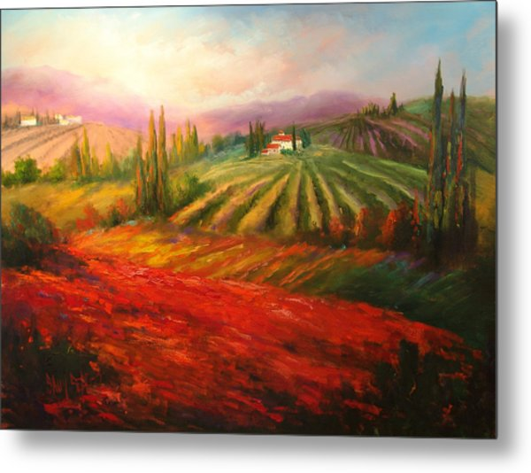 Tuscan Poppies Metal Print by Sally Seago