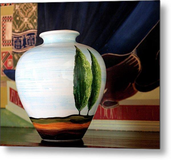 Tuscan Vase And Tapestry Metal Print