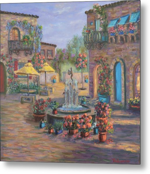 Beautiful Tuscan Villa Flower Garden Fountain Painting Metal Print