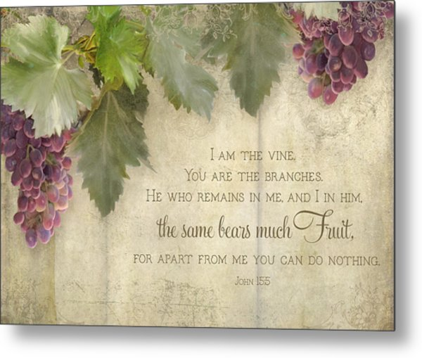 Tuscan Vineyard - Rustic Wood Fence Scripture Metal Print