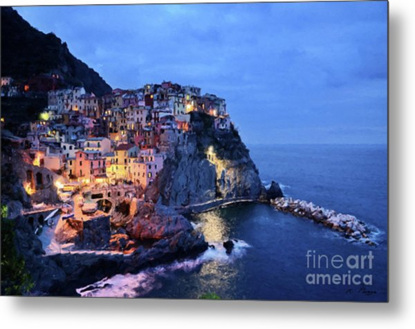 Tuscany Like Amalfi Cinque Terre Evening Lights Metal Print