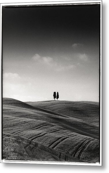 Tuscany Twin Cypresses Metal Print by Michael Hudson