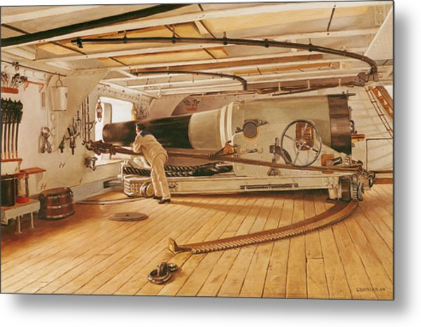 Twenty-seven Pound Cannon On A Battleship Metal Print