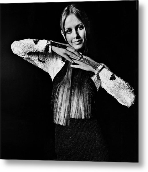 Twiggy In Sequined Jumpsuit Metal Print by Bert Stern