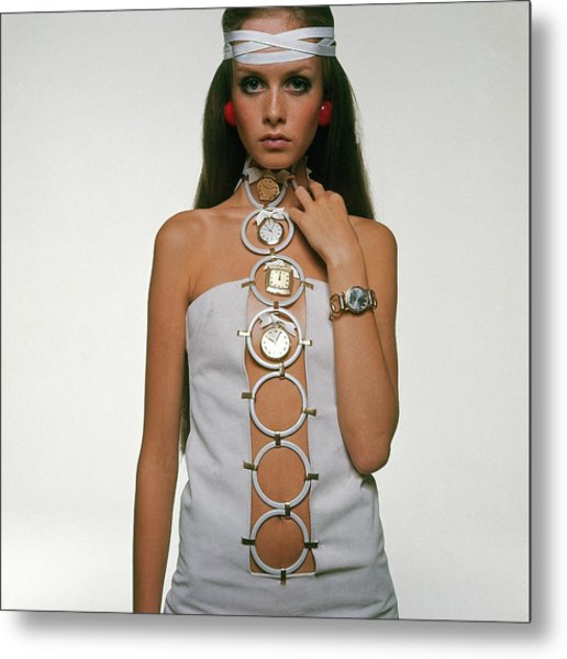 Twiggy Modeling Watches Metal Print by Bert Stern