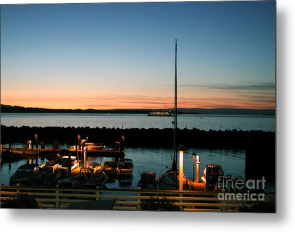 Twilight At Edmonds Marina Metal Print