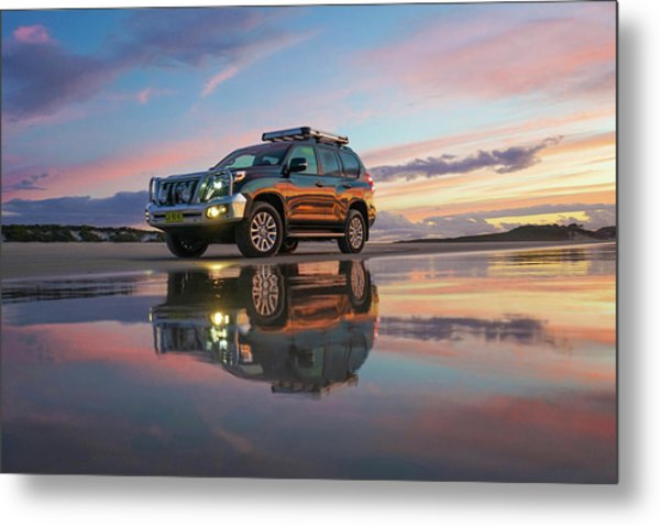 Twilight Beach Reflections And 4wd Car Metal Print