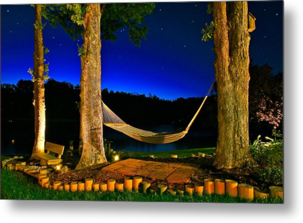 Twilight Hammock Smith Mountain Lake Metal Print