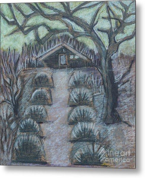 Twilight In Garden, Illustration Metal Print