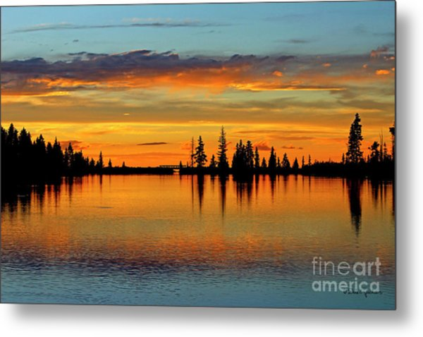 Twilight Lake Reflections In Colorado Metal Print