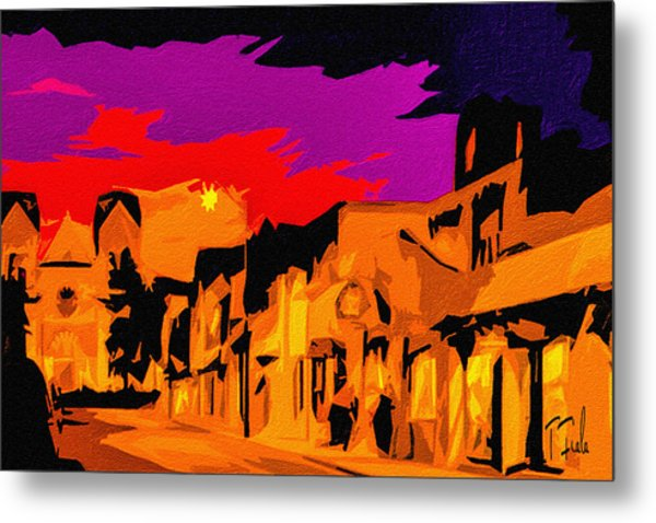 Twilight On The Plaza Santa Fe Metal Print