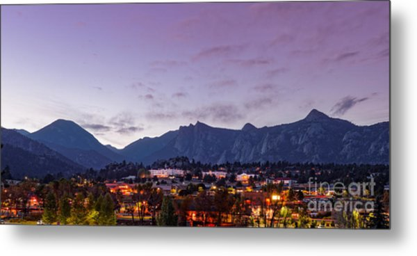 Twilight Panorama Of Estes Park, Stanley Hotel, Castle Mountain And Lumpy Ridge - Rocky Mountains  Metal Print