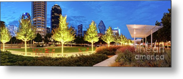 Twilight Panorama Of Klyde Warren Park And Downtown Dallas Skyline - North Texas Metal Print