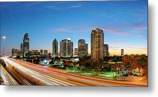 Twilight Panorama Of Uptown Houston Business District And Galleria Area Skyline Harris County Texas Metal Print