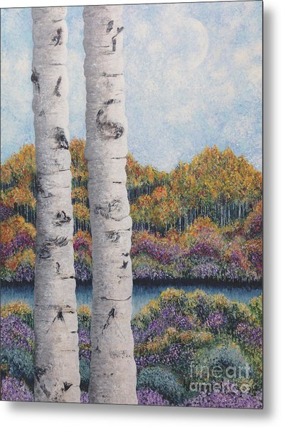 Twin Aspens Metal Print