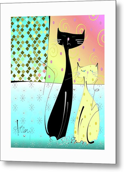 Metal Print featuring the mixed media Cattitude by Larry Talley