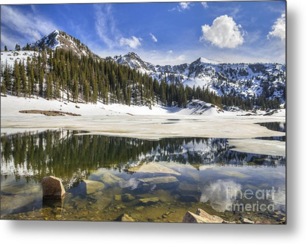 Twin Lakes Reservoir Melting Ice Metal Print