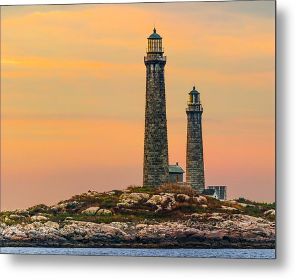 Twin Lights With Morning Glow Metal Print