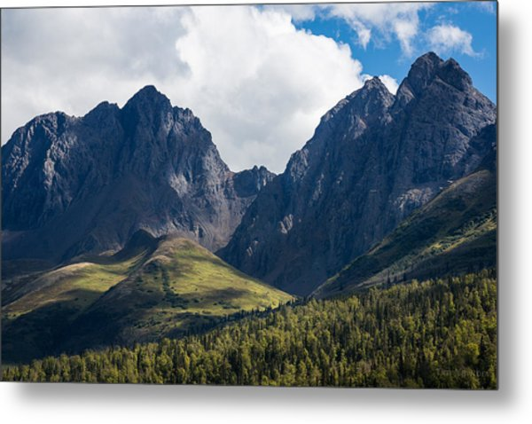 Metal Print featuring the photograph Twin Peaks In Mid-summer by Tim Newton