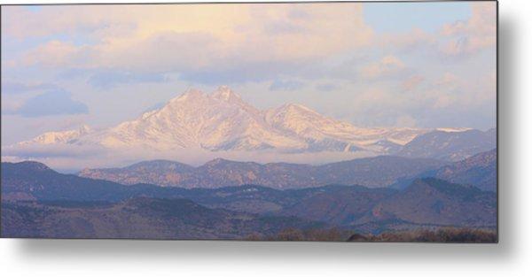 Twin Peaks Meeker And Longs Peak Panorama Color Image Metal Print